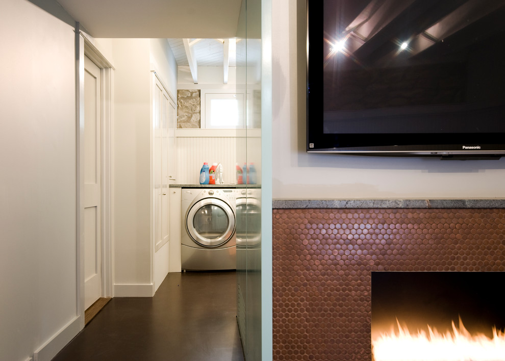 Penny Tiles Basement Contemporary with Basement Fireplace Laundry Living Room Panty