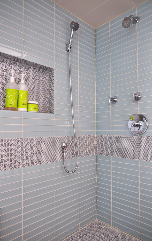 Penny Tiles Bathroom Contemporary with Ann Sacks Tile Bathroom Cabinetry Blue Tile Contemporary Bathroom Glass Tile Interior