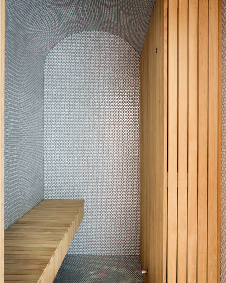 Penny Tiles Bathroom Contemporary with Bathroom Tile Curved Roof Minimal Neutral Colors Penny Tiles Sauna Tile Ceiling