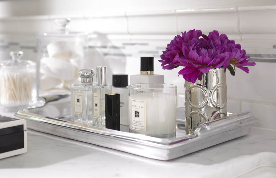 perfume tray Bathroom Transitional with bath vignette bathroom vignette perfume tray
