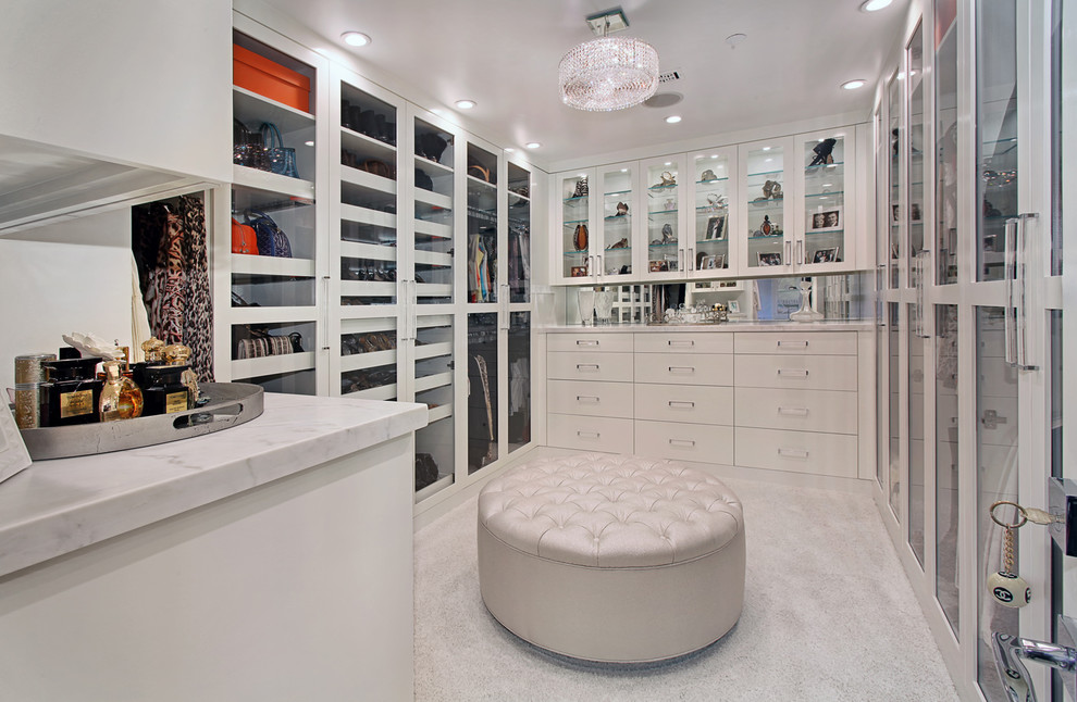 Perfume Tray Closet Contemporary with Crystal Chandelier Glass Doors Glass Shelves Gray Carpet Mirror Backsplash Recessed Lighting