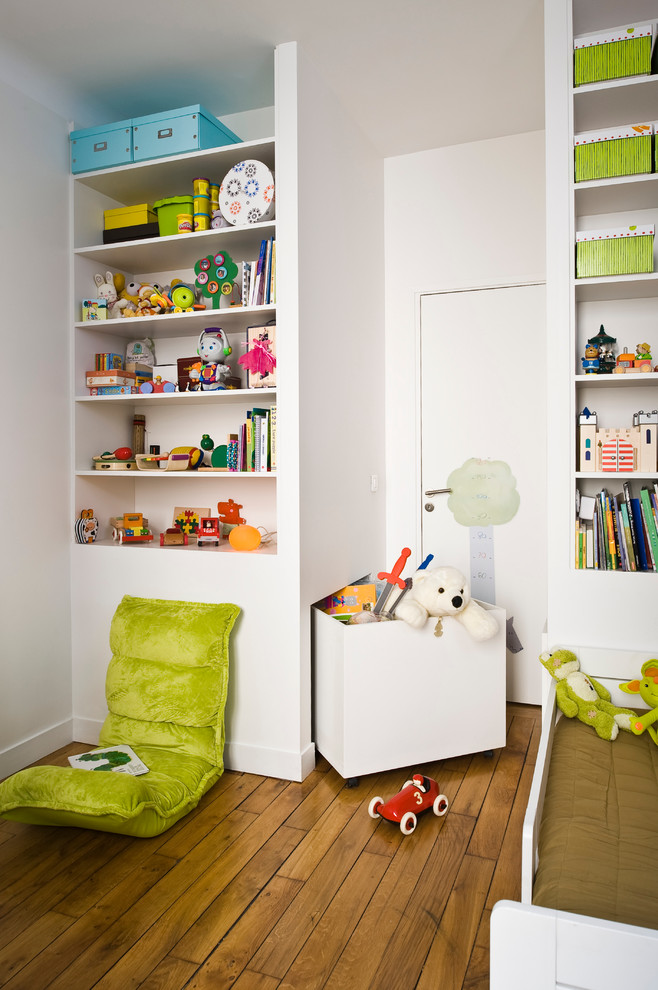 Personalized Toy Box Kids Contemporary with Bookshelf Bright Colors Brown Bedding Built in Toy Storage Built in Wall