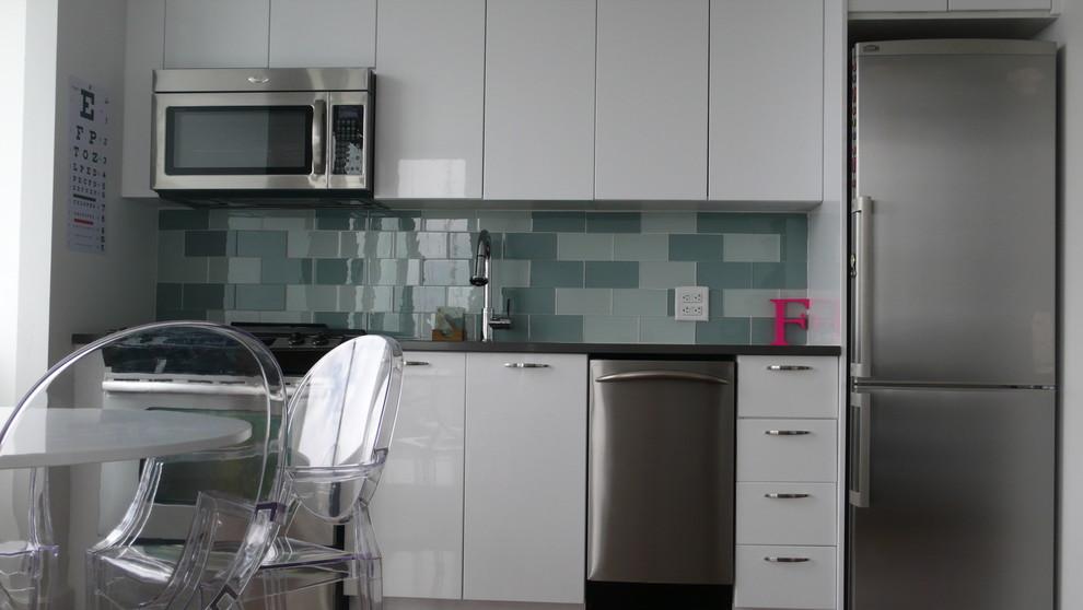 Personalized Toy Chest Kitchen Modern with Ghost Chairs Glass Backsplash Glass Mosaic Tile Studio Kitchen White Lacquer