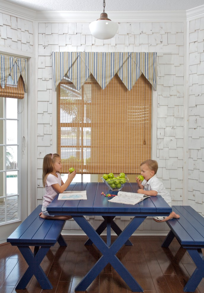 Picnic Backpack Dining Room Beach with Bench Bench Seating Blue Kitchen Table Breakfast Nook Cedar Shake Siding Crown