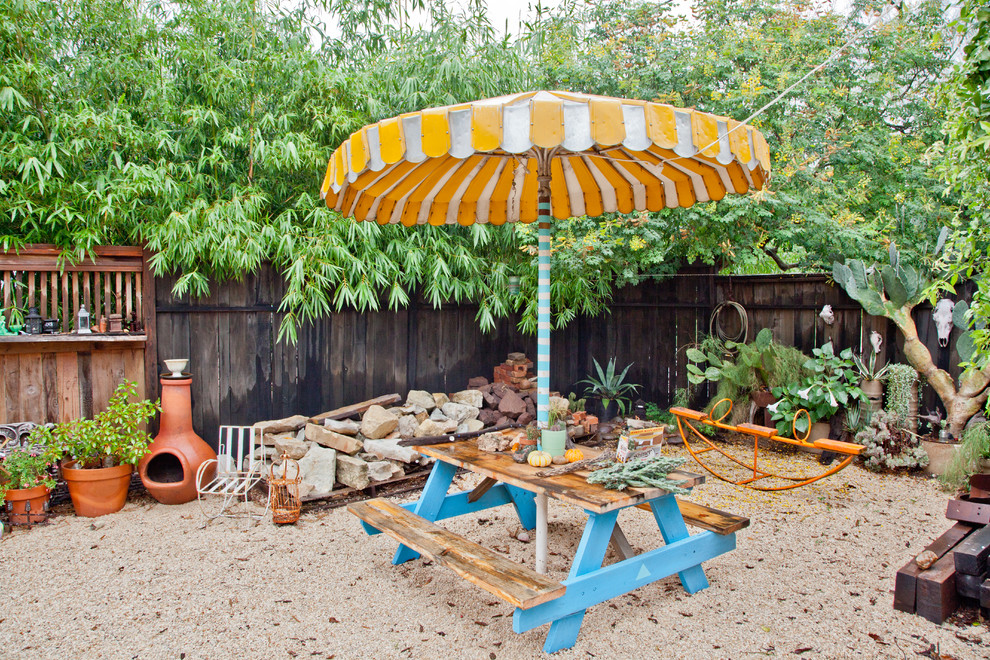 Picnic Backpack Patio Eclectic with Bench Boulders Gravel Gravel Patio Landscape My Houzz Orange Umbrella Outdoor Dining