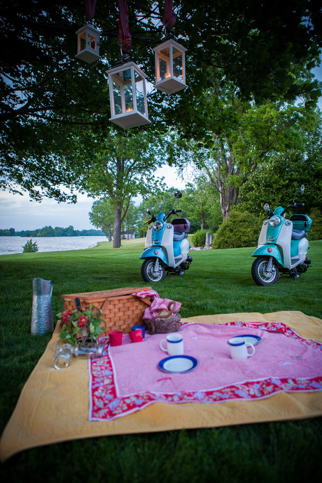 Picnic Baskets Patio Eclectic with Lanterns Outdoor Lighting Picnic Picnic Basket Picnic Blanket Scooters Tableware