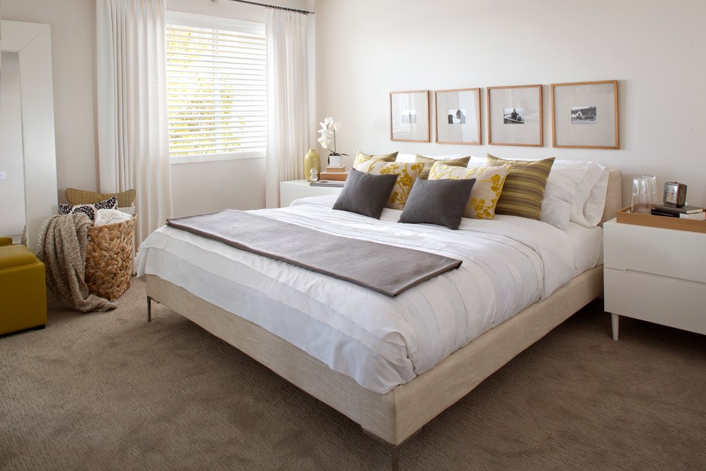 Picture Collage Frames Bedroom Modern with Basket Bed Bedding Carpet Night Stand White Bed White Night Stand Window1