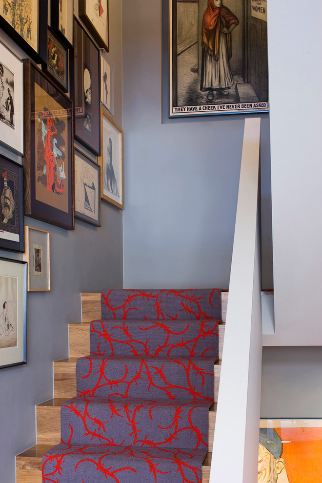 Picture Collage Frames Staircase Eclectic with Artwork Carpet Runner Drawings Gray Posters Prints Red Staircase Runner Wood Steps1