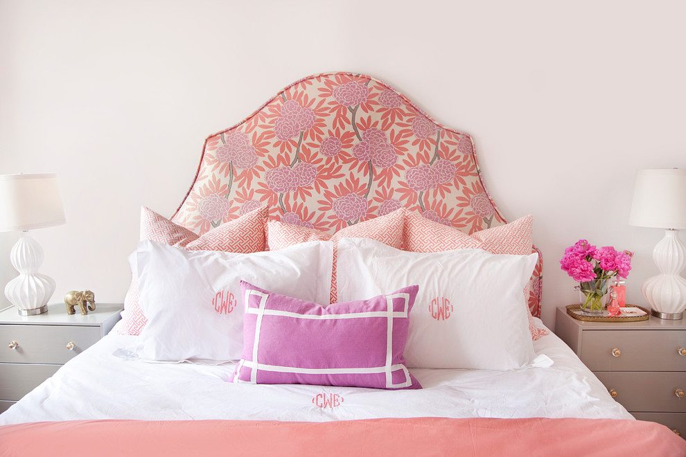 Pillow Shams Bedroom Eclectic with Feminine Floral Flower Arrangement Headboard Monogram Night Stands Pink Salmon Table Lamp