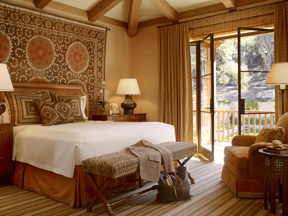 Pillow Shams Bedroom Traditional with African Antique Area Rug Balcony Bed Pillows Bed Skirt Bedside Table California