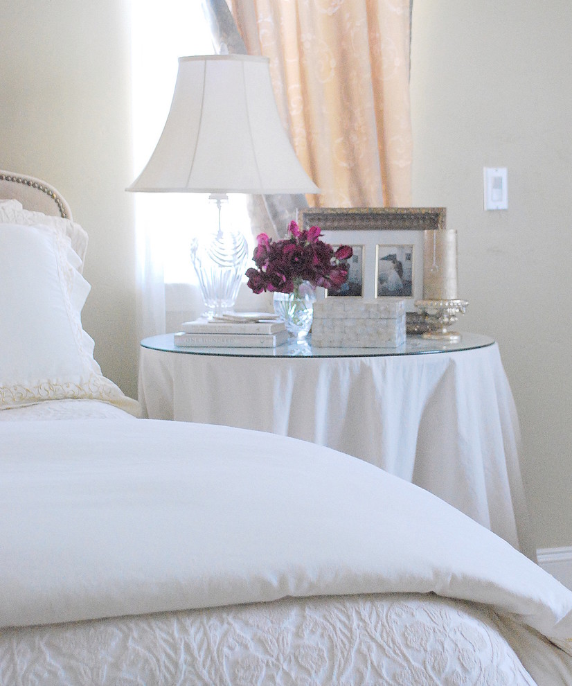 Pillow Shams Bedroom Traditional with Bedside Table Beige Walls Curtains Drapes Glass Base Lamp Glass Top Table