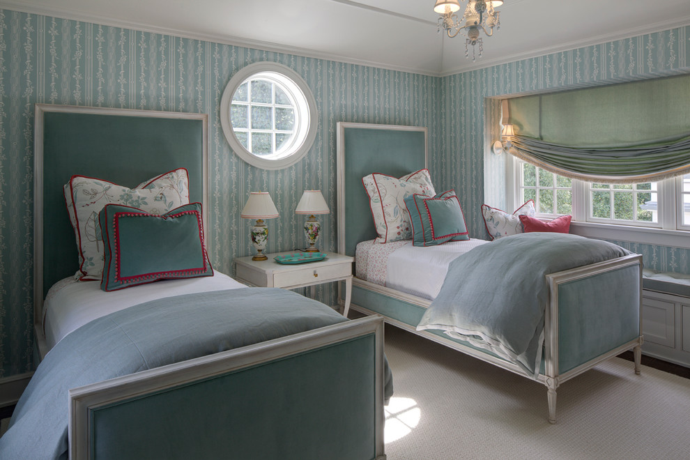 pillow shams Bedroom Traditional with blue built in bench seat carpeting chandelier night stand pink accents roman
