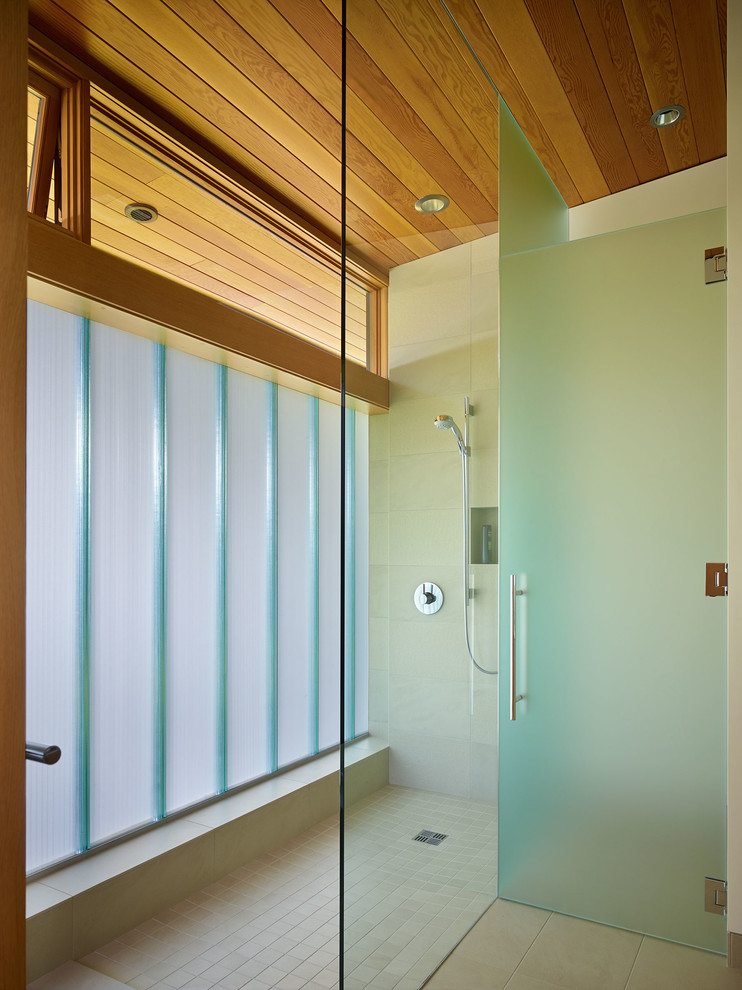 Pilsner Glass Bathroom Contemporary with Bath Beige Tile Floor Contemporary Bath Contemporary Shower Frameless Shower Door Glass