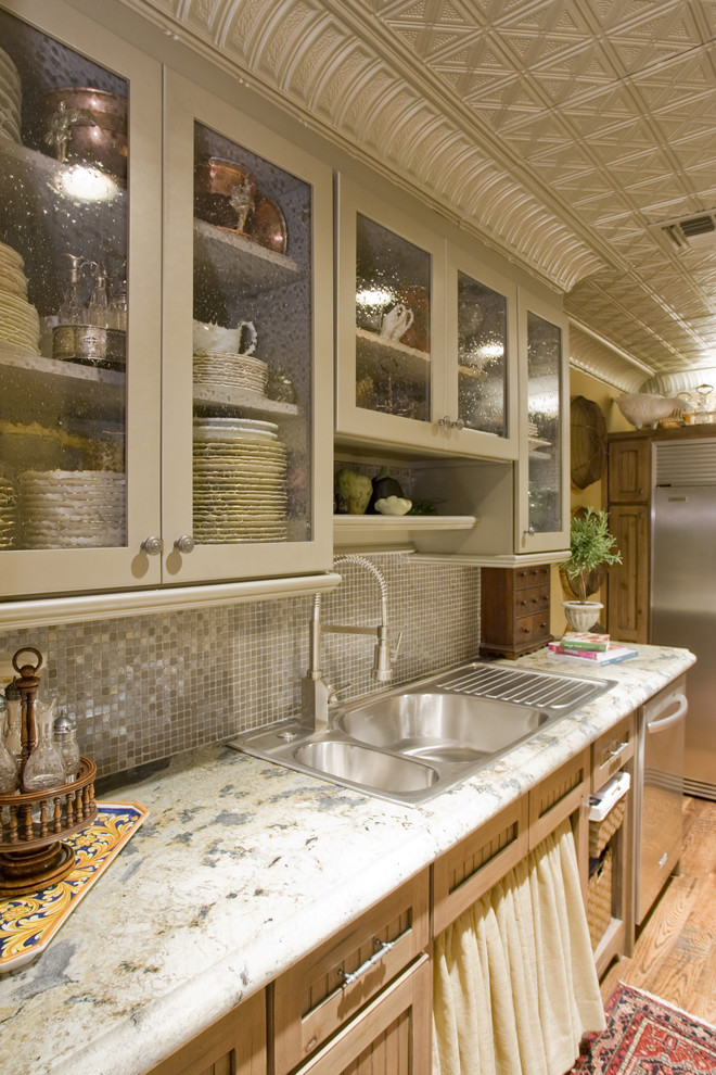 Pilsner Glass Kitchen Traditional with Glass Mosaic Tile Backsplash Seeded Glass Door Fronts Skirted Sink Cabinet Stainless