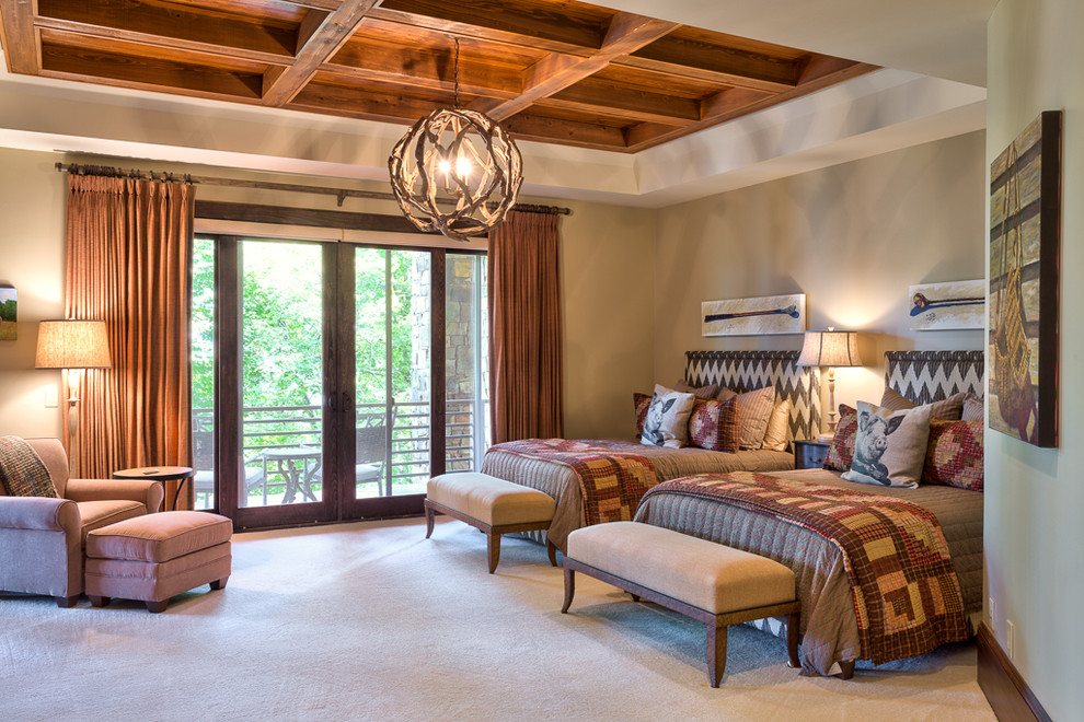 Pine Cone Hill Bedroom Rustic with Ball Chandelier Double Guest Bedroom Drapery Panels Eclectic Upholstered Bench 1