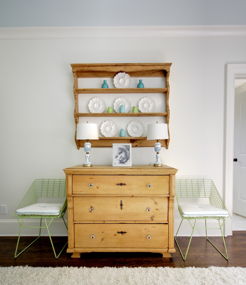 Pine Dresser Bedroom Traditional with Accent Chairs Area Rug Baseboards Chest of Drawers Dark Floor Dresser Green