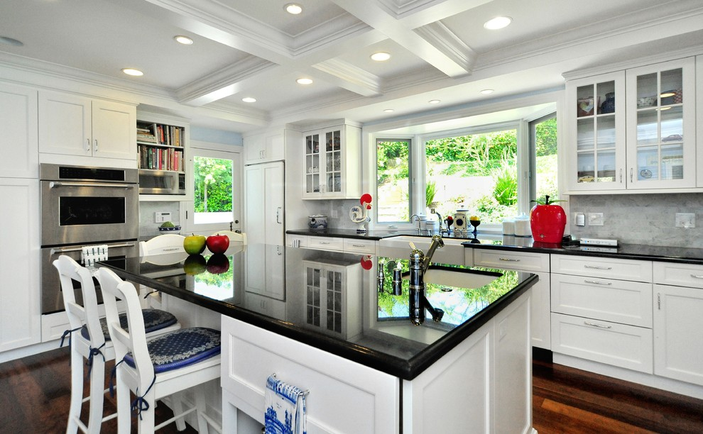 Pine Dresser Kitchen Traditional with Black Granite Countertops Carrera Backsplash Classic White Cabinetry Cobalt Blue and Red