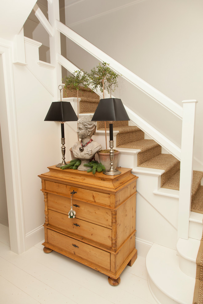 Pine Dresser Staircase Traditional with Antique Dresser Beige Carpeted Stairs Beige Stair Runner Black Table Lamp Pine