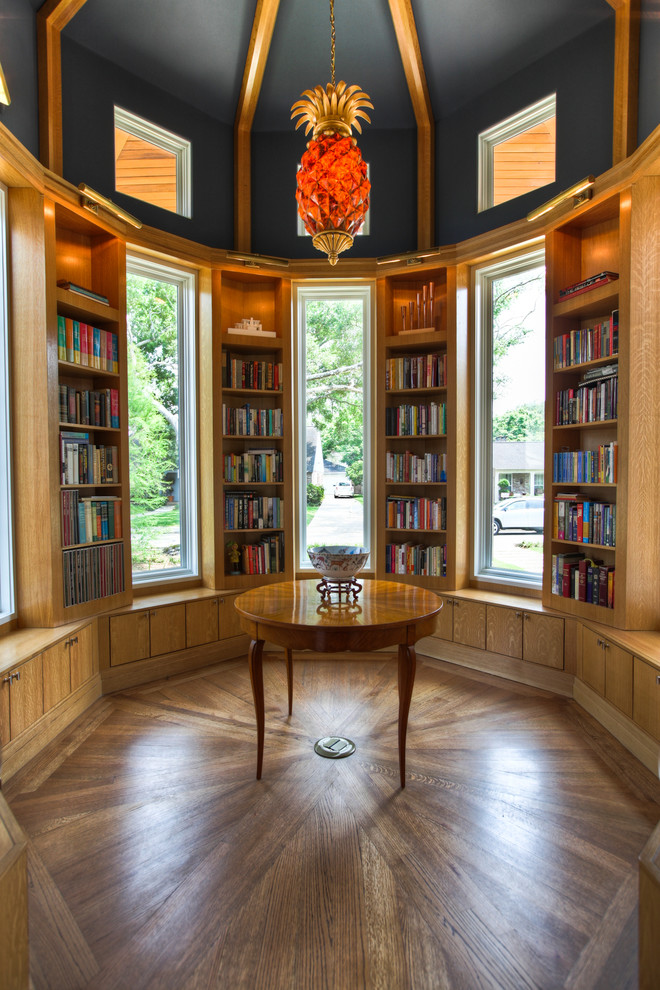 Pineapple Lamp Family Room Traditional with Accent Lighting Black Ceiling Built in Bookcase Built in Bookshelf Clerestory Windows Library Natural