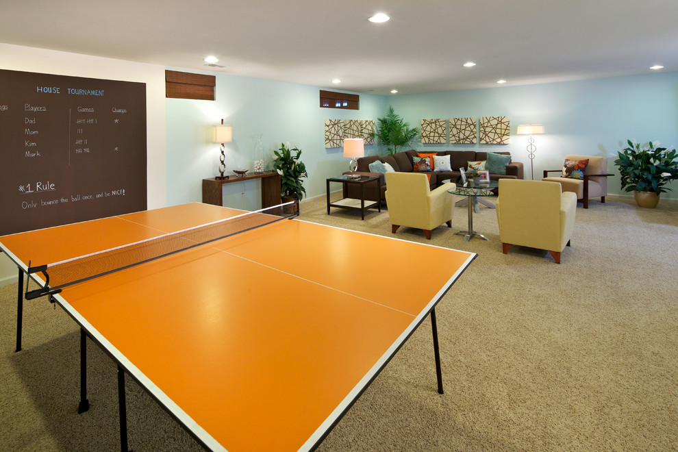 Ping Pong Table for Sale Basement Contemporary with Artwork Basement Brown Carpeting Chalkboard Paint Game Room Light Blue Ping Pong