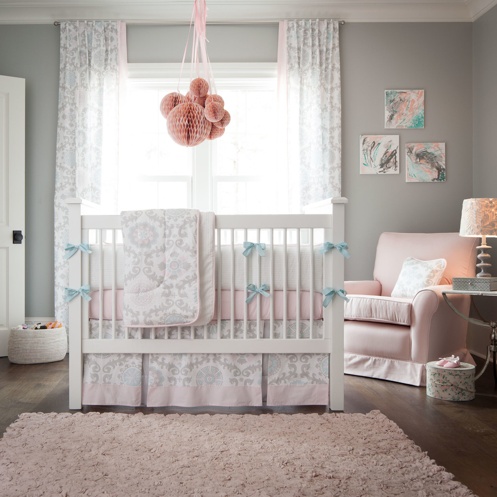Pink and Gray Crib Bedding Kids Traditional with Blue Chic Designer Floral Girl Gray Modern New Arrivals Pink Suzani Unique