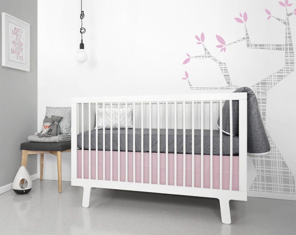 Pink and Gray Crib Bedding Nursery Modern with Gray Modern Baby Bedding Modern Crib Bedding Modern Girls Baby Bedding Modern
