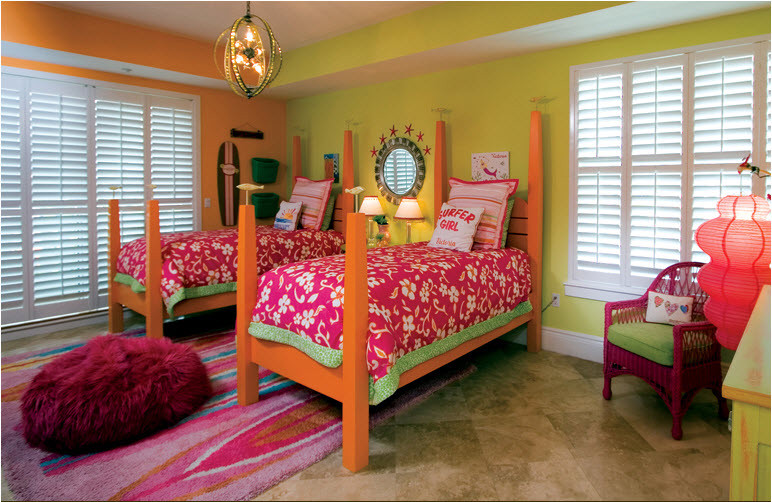 Pink Bean Bag Chair Bedroom Tropical with None