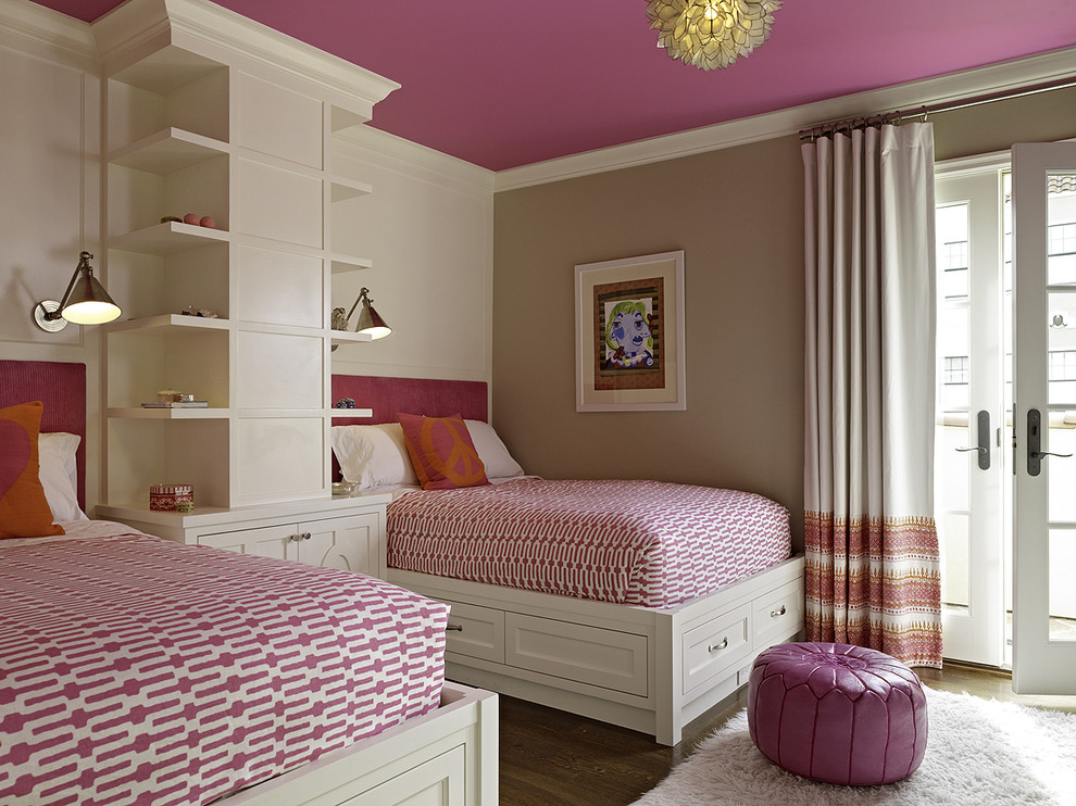 Pink Camo Bedding Bedroom Transitional with Bed Pillows Bookcase Bookshelves Built in Storage Crown Molding Curtains Decorative Pillows