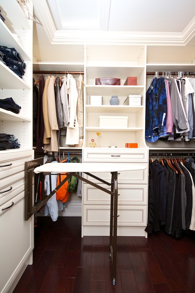 pizzelle iron Closet Traditional with built-in cabinets built-in shelves closet clothes rack clothes rod dark wood floor