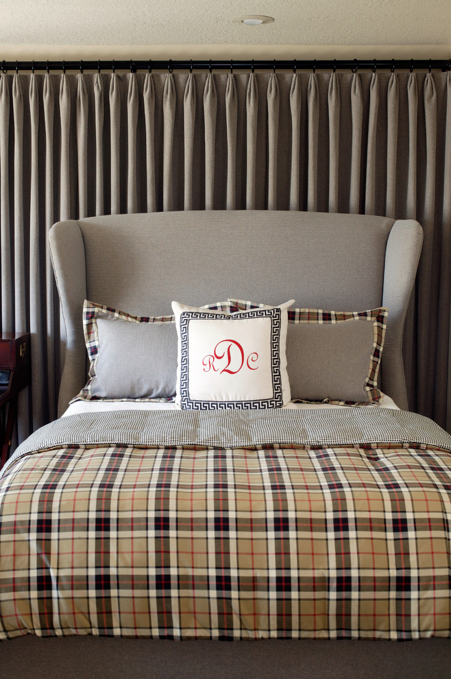 Plaid Bedding Bedroom Contemporary with Bed Pillows Curtains Decorative Pillows Drapes Greek Key Monogram Neutral Colors Plaid