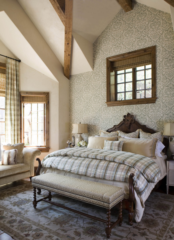 Plaid Bedding Bedroom Rustic with Accent Wall Area Rug Bed Pillows Damask Wallpaper Exposed Beams High Ceiling