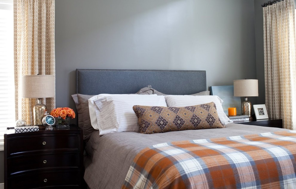 Plaid Bedding Bedroom Transitional with Bed Pillows Bedside Table Boys Bedroom Curtains Drapes Grey Nail Head Trim