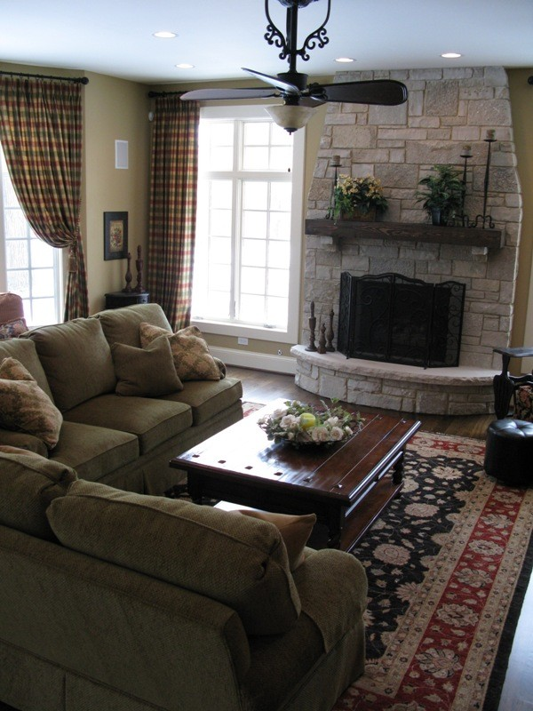 Plaid Curtains Family Room Traditional with Plaid Drapery Rustic Stone Fireplace