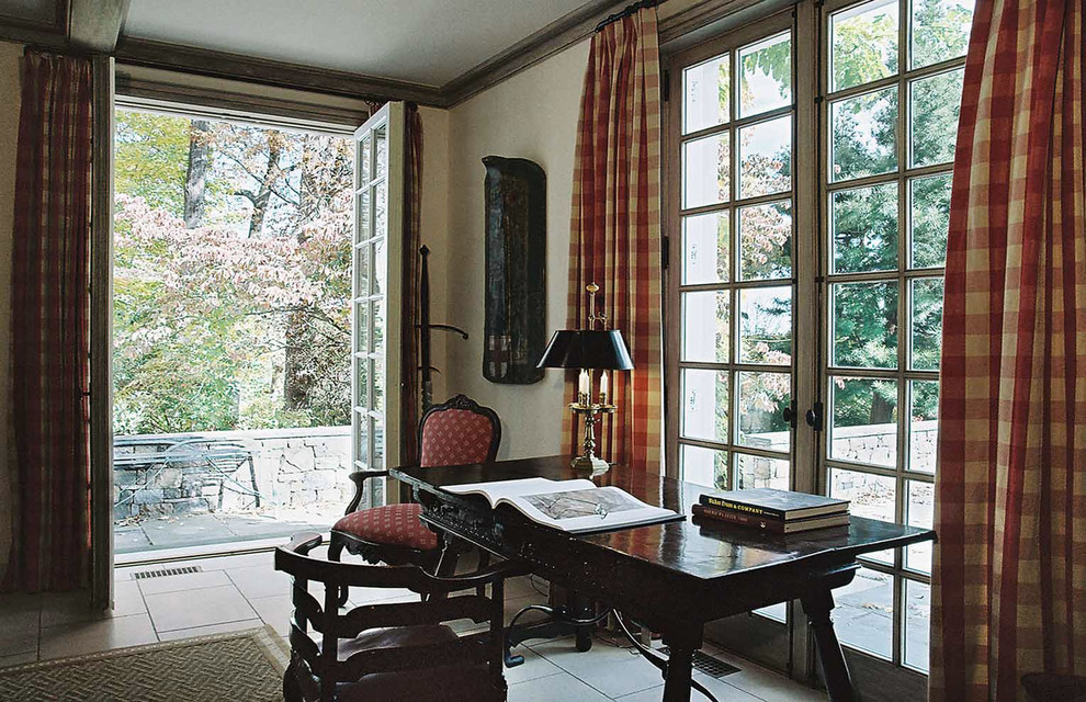 plaid curtains Home Office Traditional with area rug black desk crown molding curtains drapes french doors glass doors