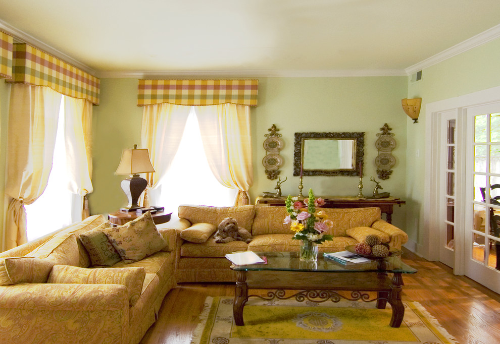 Plaid Curtains Living Room Traditional with Colors French Country Plaid Townhome Wood Coffee Table Yellow Yellow Rug