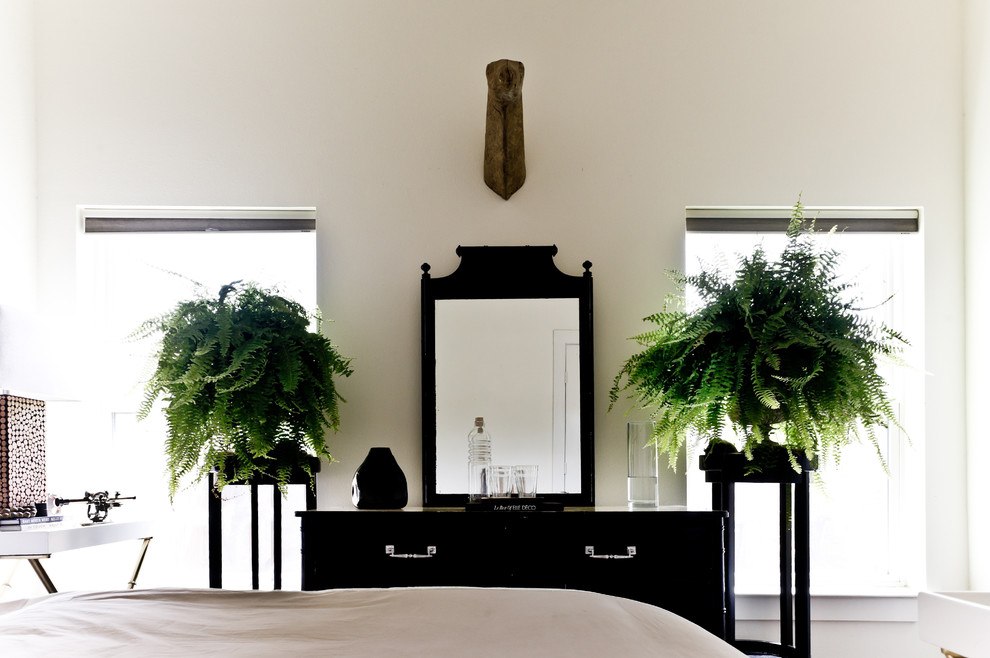Plant Stands Outdoor Bedroom Victorian with Black and White Chest of Drawers Dresser Ferns House Plants Mirror Neutral