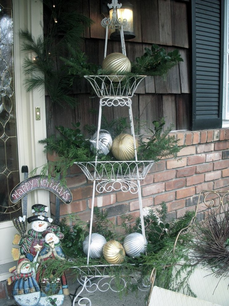 plant stands outdoor Exterior Traditional with Christmas holiday decoration ornament outdoor decor seasonal decoration