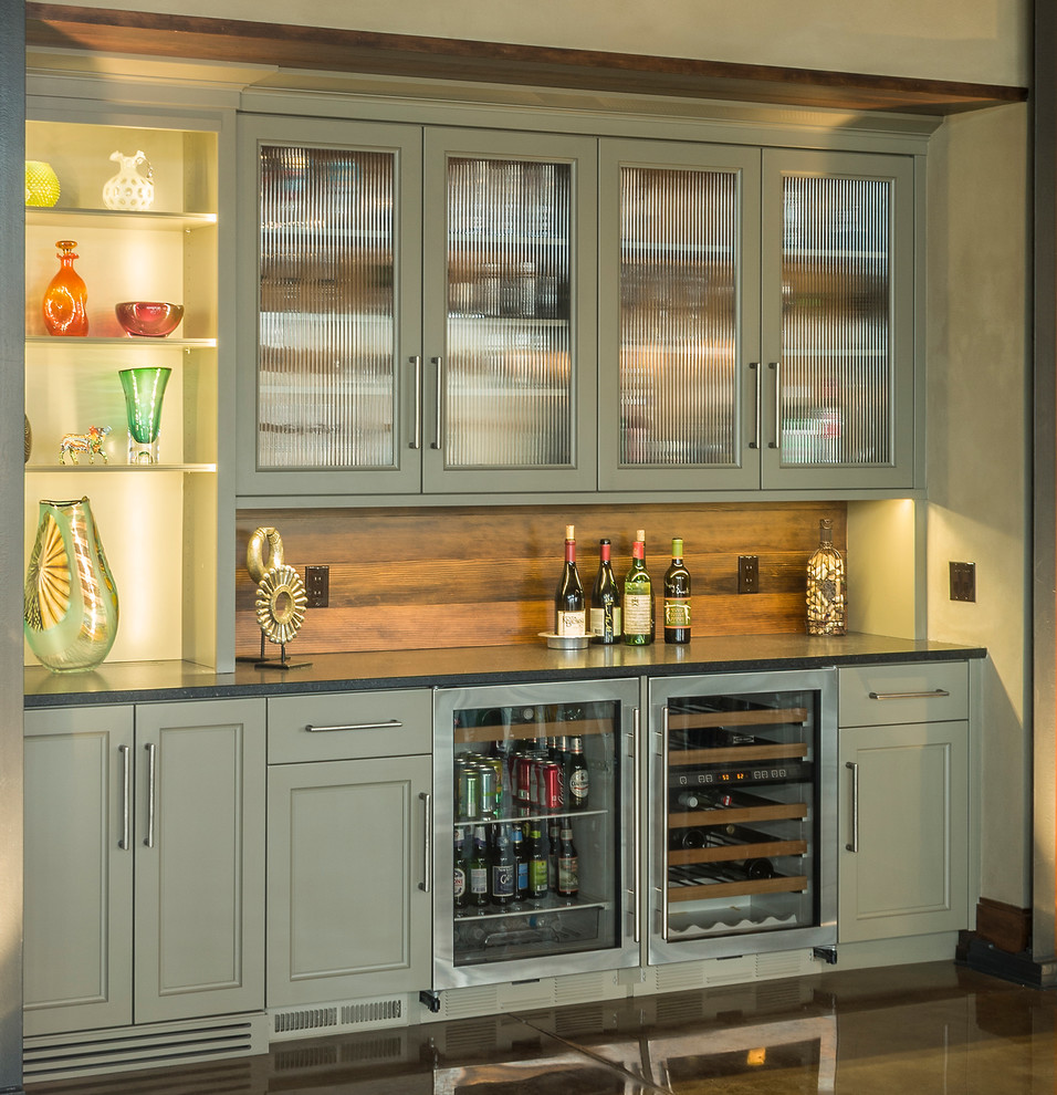 Plastic Drinking Glasses Kitchen Contemporary with Concrete Counters Concrete Floor Contemporary Bar Kitchen Wet Bar Mini Fridge Open
