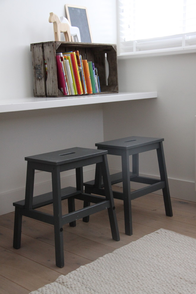 Plastic Step Stool Kids Contemporary with Blinds Books Boys Room Chalkboard Flat Area Rug Floating Shelf Gray Painted
