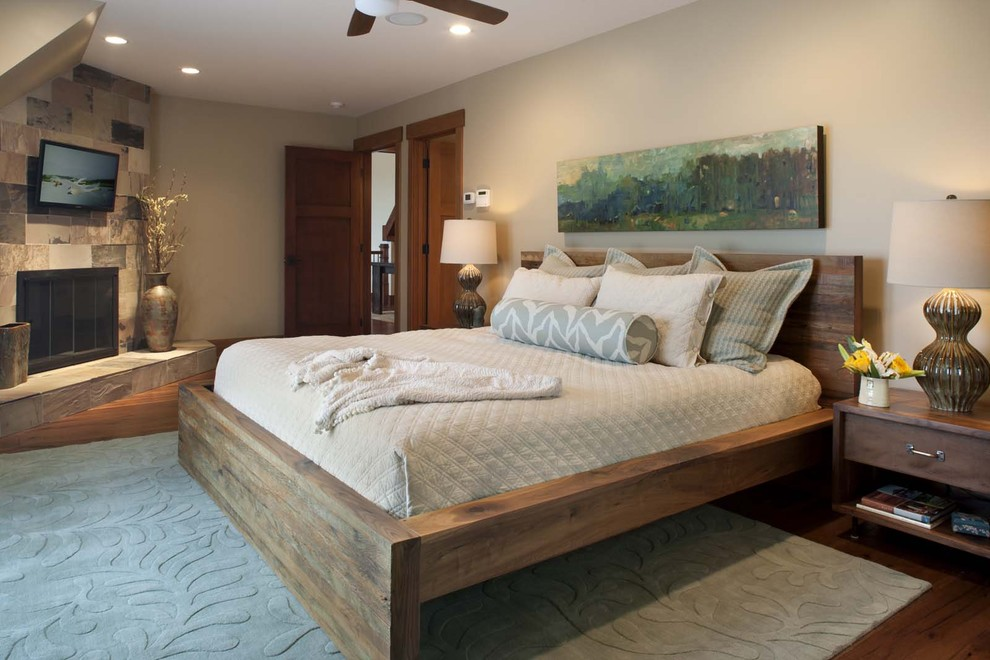 Platform Bed Frame King Bedroom Contemporary with Area Rug Art Work Beige Ceiling Fan Corner Fireplace Gray Low Profile