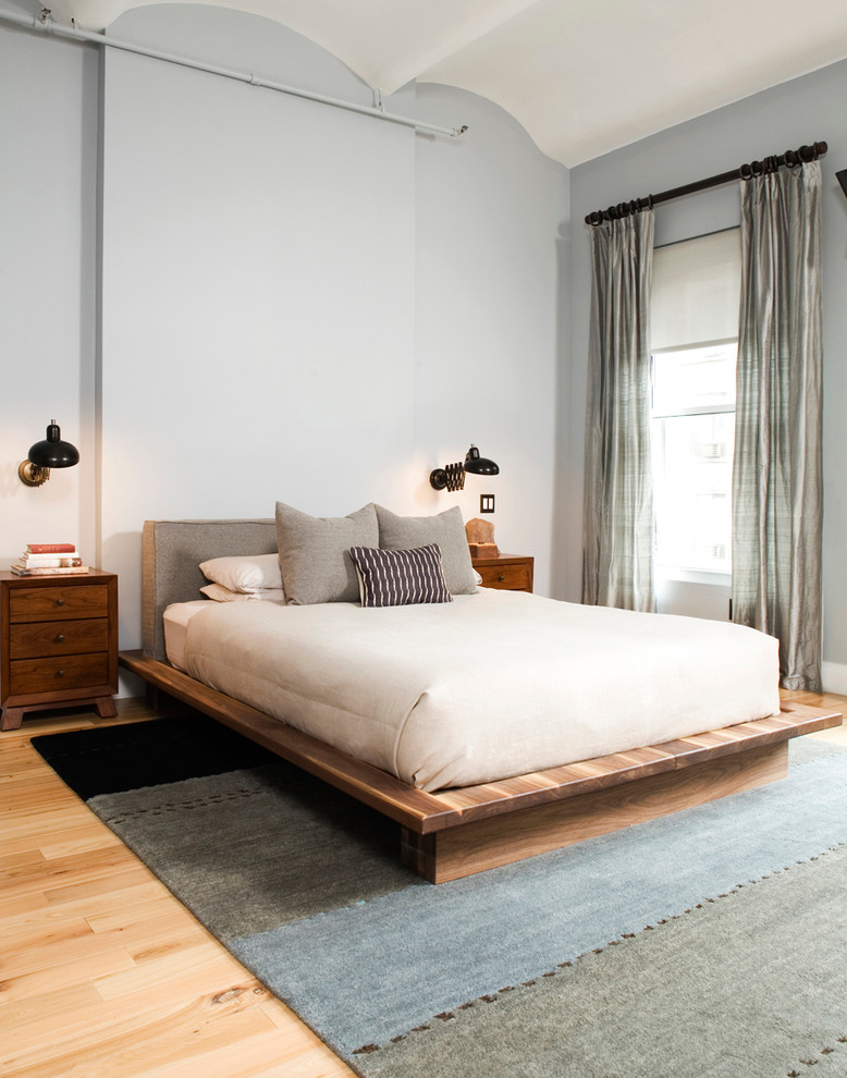 platform bed frame king Bedroom Eclectic with barrel vault ceiling cream duvet gray bedding gray drapes light hardwood floors