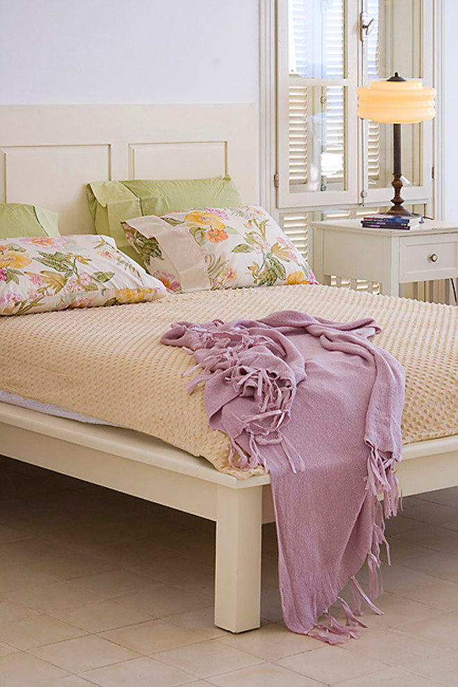 platform bed frame queen Bedroom Shabby chic with bedside table floral pillows nightstand platform bed table lamp tile flooring window