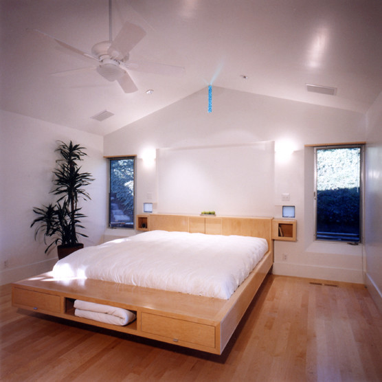 Platform Beds with Storage Bathroom Contemporary with Ceiling Fan Gabled Ceiling Low Bed Wood Floor