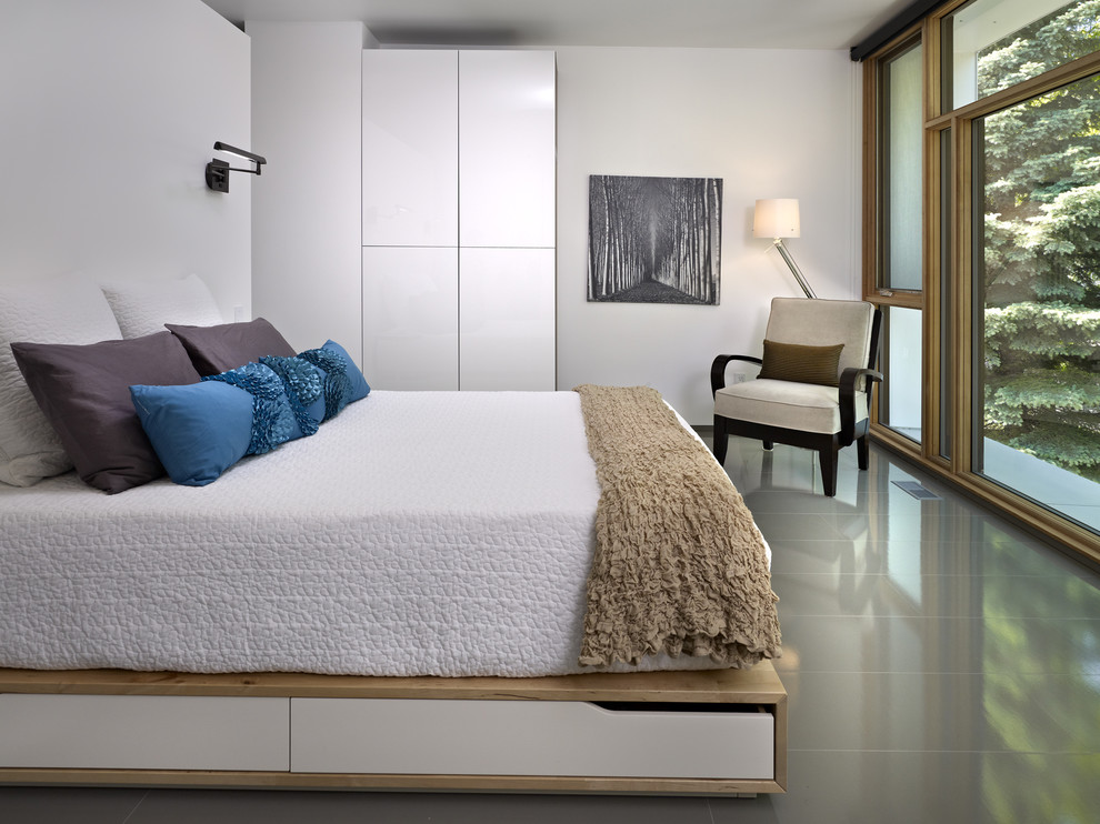 platform beds with storage Bedroom Modern with artwork bed pillows beige side chair beige throw blue throw pillow built