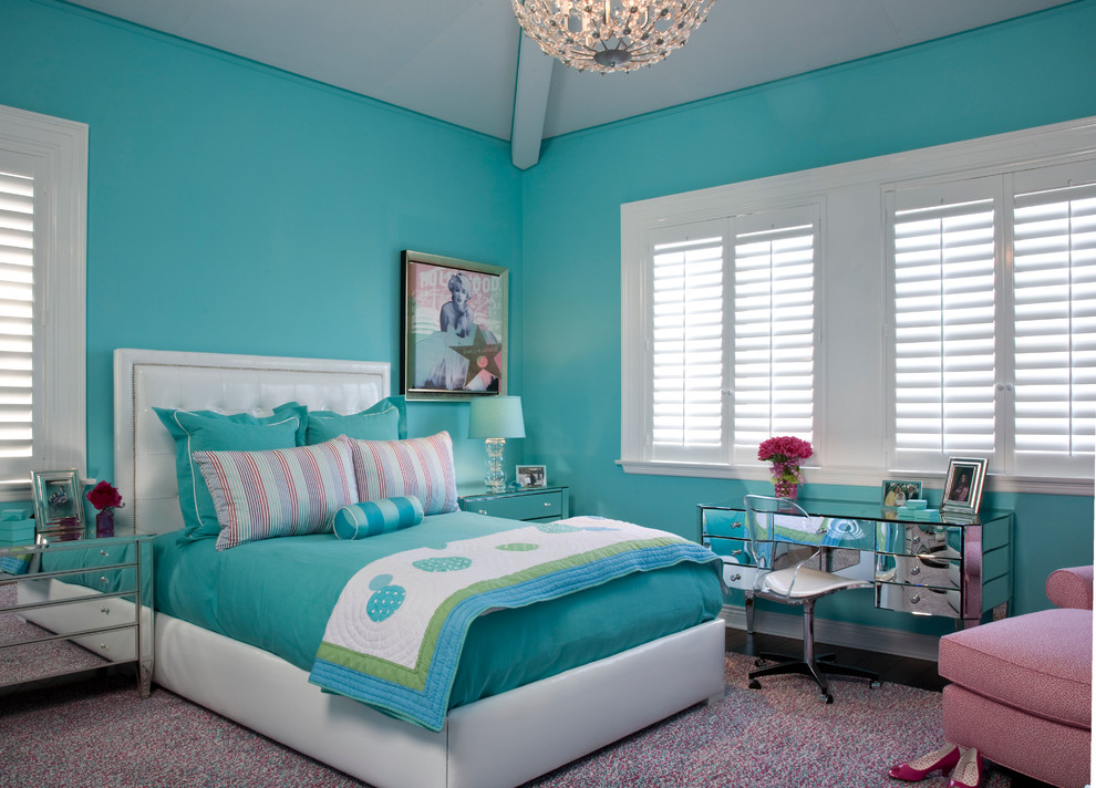 Platform Beds with Storage Bedroom Transitional with Chaise Girls Room Mirrored Furniture Shag Studs Teenage Turquoise Upholstered Headboard Vanity