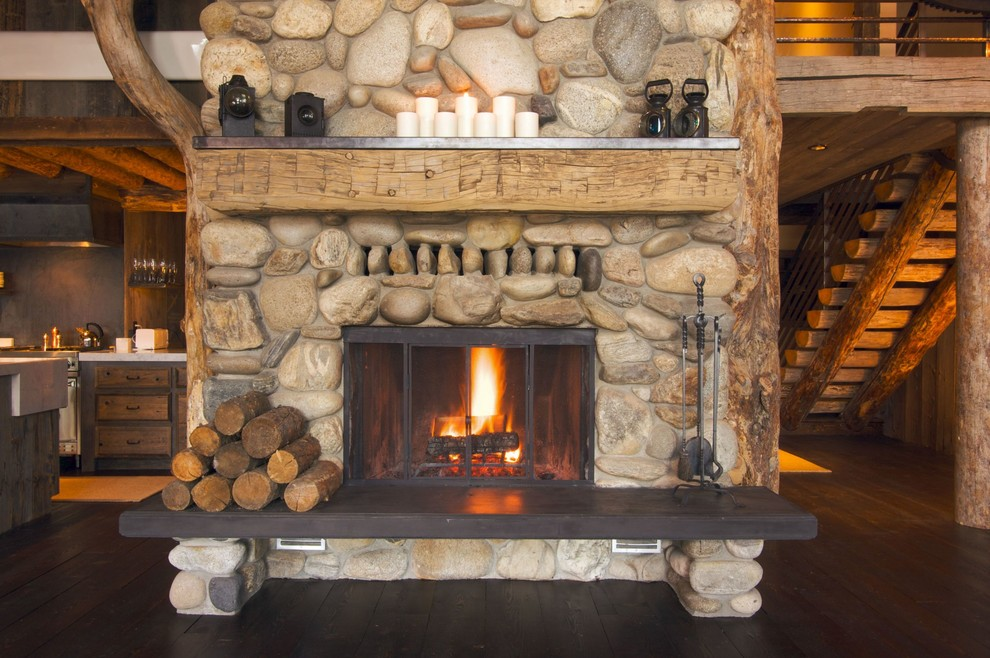 Pleasant Hearth Living Room Rustic with Cabin Fire Tools Fireplace Firewood Hearth Logs Mantel River Rock Rough Hewn