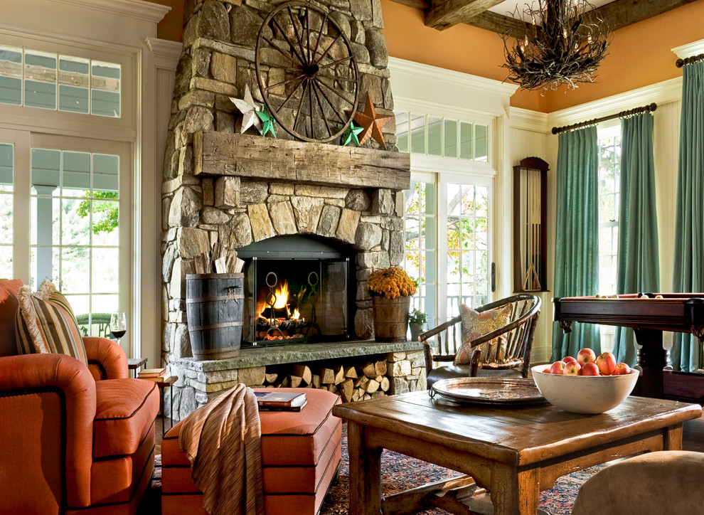 Pleasant Hearth Fireplace Doors Family Room Traditional with Aged Beams Coffered Ceiling Country Curtains Drapes Exposed Beams Family Room Fireplace