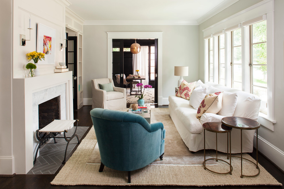 Pleasant Hearth Fireplace Doors Living Room Transitional with Airy Beach Style Blue Armchair Built Ins California Style Casement Windows Chic Curule