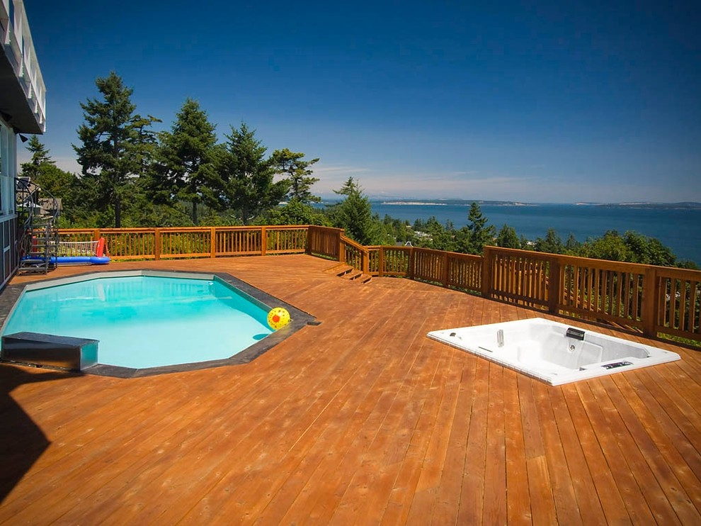 Plug and Play Hot Tub Deck Contemporary with Aryze Developments Bbq Beautiful Bridge Built in Cedar Clean Deck Fir Fireplace