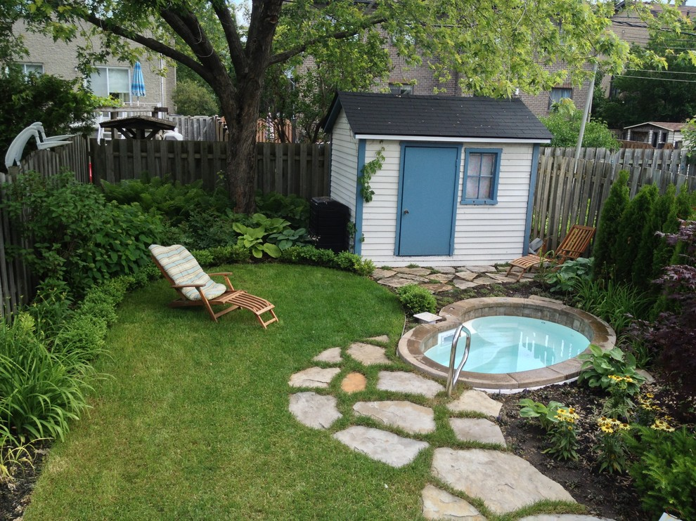 Plug and Play Hot Tub Landscape Traditional with Beige Shed Blue Shed Door Blue Trim Bushes Grass Hot Tub Integrated